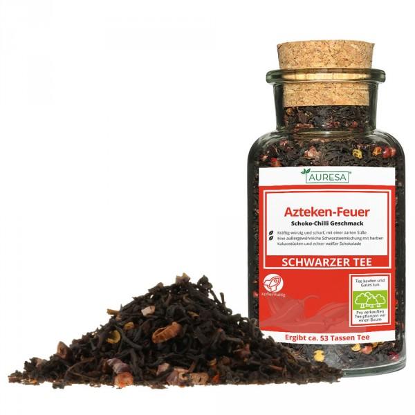 Thé noir en vrac Azteken-Feuer dans un verre