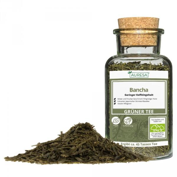 Thé vert en vrac Bancha dans un verre
