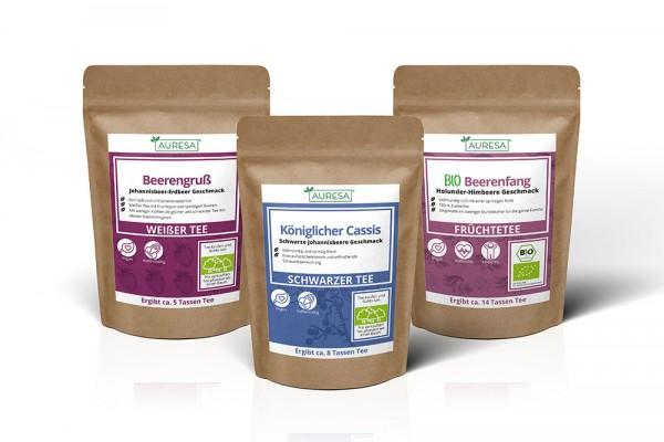 Weißer Tee Beerengruß, Früchtetee Bio Beerenfang und Schwarzteemischung Königlicher Cassis