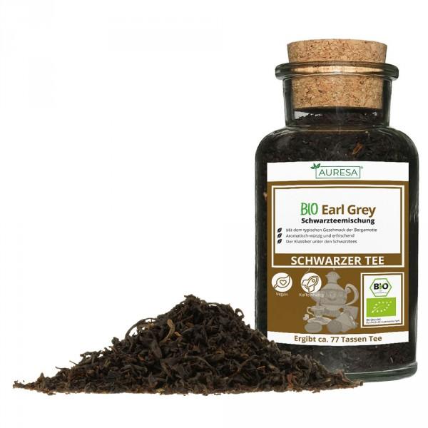 Thé noir en vrac Earl Grey bio dans un verre