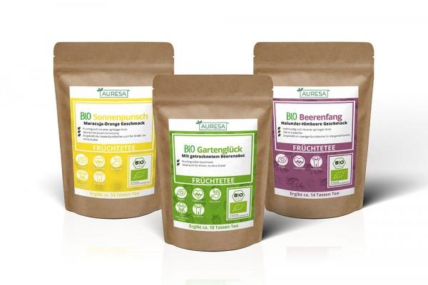 Bio Früchtetees Bio Gartenglück, Bio Sonnenpunsch und Bio Beerenfang