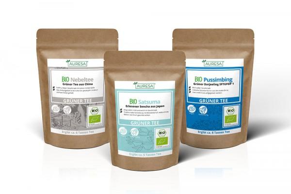 Teeset mit drei grünen Tees aus kontrolliert biologischem Anbau