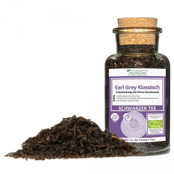 Thé noir en vrac Earl Grey Classic dans un verre