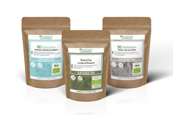 Dreimal grüner Tee: Bio Nebeltee, Bio Satsuma und Bancha