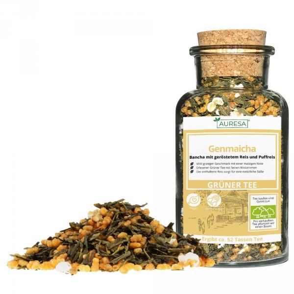Thé vert en vrac Genmaicha avec verre