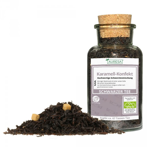 Thé noir en vrac parfumé Karamell-Konfekt dans un verre