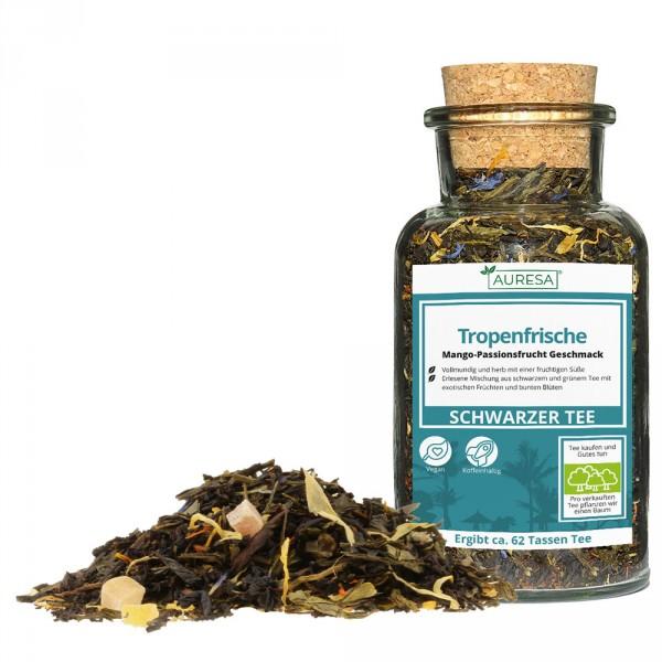 Mélange de thé noir et vert en vrac Tropenfrische dans le verre